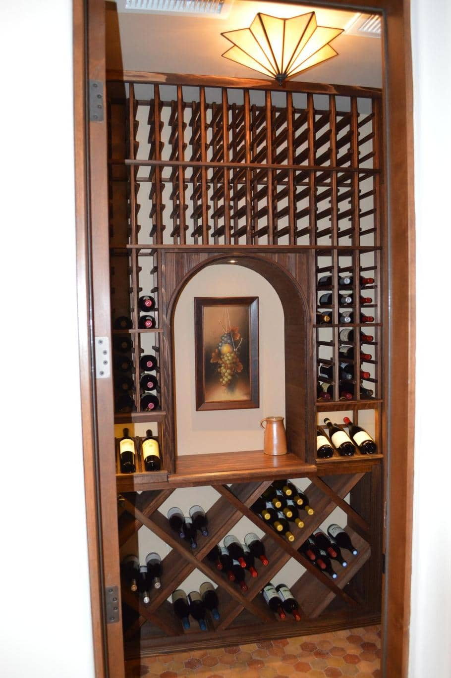 exceptional storage racks for a compact home wine cellar