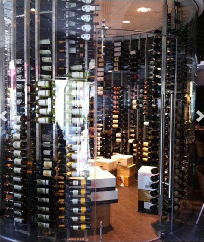 Glass-Enclosed Miami Commercial Wine Cellar with VintageView Racking & Glass-Enclosed Glass Commercial Wine Cellar Miami - Custom Wine ...